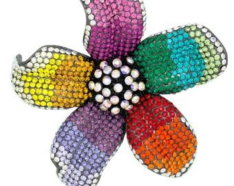 Black Tone Gun Metal Swarovski Element 5 Petals Flower Brooch Pin Pendant