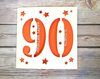 Personalised 90th Birthday Card, Dad 90th Card, Mum 90th Card, Ninety Card, Happy 90th, Personalised 90th Gift, Handmade Card, Lasercut
