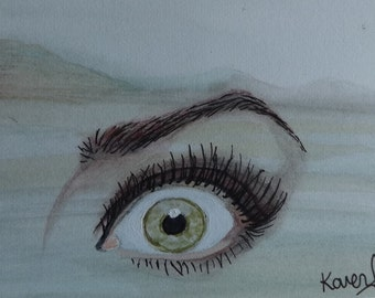 A Beautifully Painted ACEO Original Watercolour Painting 'Third Eye in Green Landscape' Fantasy Spiritual Fine Art