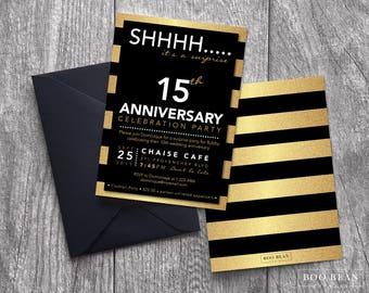 Surprise Birthday Invitation Gold | Printable Invitation |  Anniversary Invitation | Surprise Anniversary Invitation