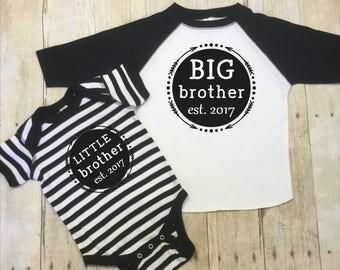 Big Brother Shirt-Little Brother Shirt-Big Brother Est. 2017-Little Brother Est. 2017-Brother Shirts Set-Matching Brothers Shirts