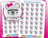 35 Cute Kiki the Koala Eyebrows/Pluck/Tweezer/Appointment Planner Stickers, Filofax, Erin Condren, Happy Planner, Kawaii, Cute Sticker, UK