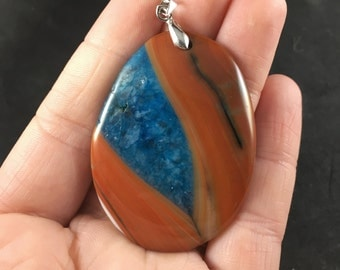 Beautiful Orange and Blue Drusy Stone Pendant Necklace