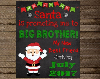 Christmas pregnancy announcement, big brother announcement, pregnancy reveal, Brother pregnancy announcement, winter, christmas chalkboard
