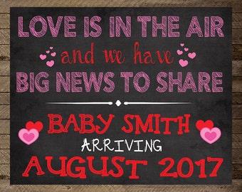 Valentine's Pregnancy Announcement, Valentine Baby, announcement, maternity, gift, Pregnancy reveal valentines, pregnancy chalkboard, hearts