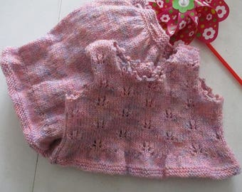 Knitted baby clothes, baby girl knit set, pink knitwear, baby bloomers set, girl singlet top, vintage knickers, baby vest top, diaper cover