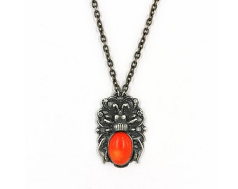 Coral necklace bug pendant orange stone silver plated  beetle Natural coral