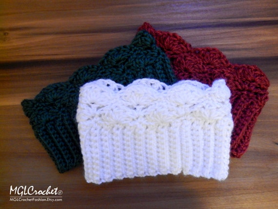 Beginner Crochet Boot Cuff Pattern : PATTERN Crochet Lacy Boot Cuffs Easy Beginner Pattern ...
