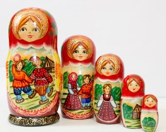 "Russian Nesting Doll - ""Russian Village. Summer fun."" - MEDIUM SIZE - 5 dolls in 1 - Hand Painted in Russia - Matryoshka Babushka"