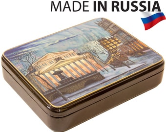 """Russian Fedoskino Lacquer Box - BIG SIZE - """"Bolshoi Theatre."""" - Hand Painted in Russia - Collectible Art Quality"""