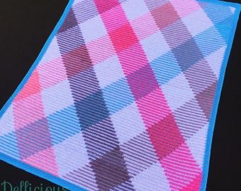 Gorgeous handmade argyle colour pooled crochet throw blanket