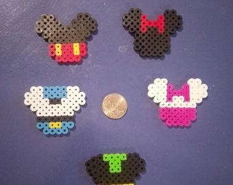 Disney Perler Bead Embellishments, Mickey Mouse, Minnine Mouse, Pluto, Donald Duck, Daisy Duck, Magnets, Perler Beads, Mini Perler Beads