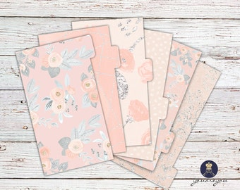 Planner Dividers Personal size, A5 Planner Dividers set of 6, Peach Perfect Planner Dividers