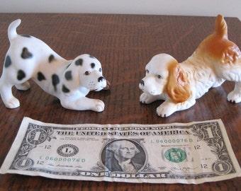 Dog Figurines, Porcelain Dogs, Set of 2 Dogs
