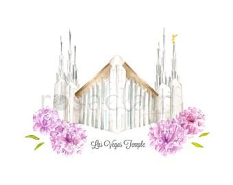 LDS Las Vegas Nevada Temple Watercolor Print Wedding Home Decor Gift Floral Painting Art Baptism Birthday Custom Christmas