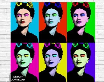 Frida Kahlo, Frida Kahlo print, Frida Kahlo Poster, Frida Kahlo art, Pop art portrait, Celebrity art, Feminist art, Frida Kahlo wall art