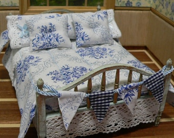 Large bed for House of dolls, bed 1: 12, decorated, furniture for Dolls House