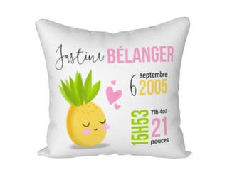 """Miss pineapple"" birth announcement pillow cover"