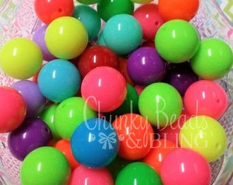 10pc. 20mm Neon Assorted Mix Gumball Beads