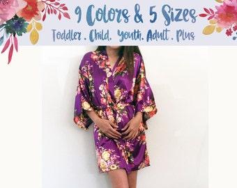 Floral Satin Maternity robe, hospital robe, nursing robe, maternity gown, floral nursing gown, baby shower gift, bridal shower gift (R002)