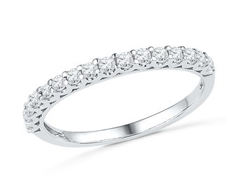 Diamond Wedding Band with 2/5 CT. T.W. in White Gold or Sterling Silver