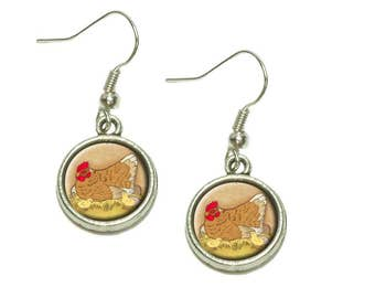 Chicken And Peeps Dangling Drop Charm Earrings