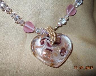 Glass Heart Pendant Has Purple, Pink, & Gold Swirls In It!