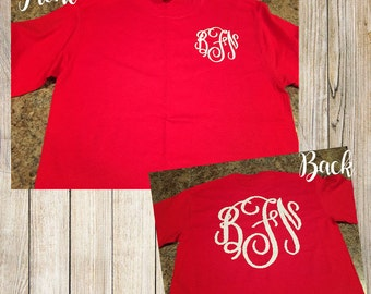 Monogram tshirt or long sleeve shirt with monogram on front and back.