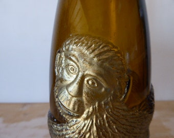 Wine Bottle With Embossed Monkey, Vintage German Wine Bottle, Affentaler Wine Bottle