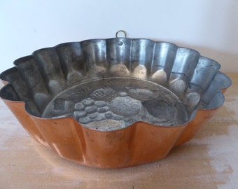 Metal Jelly Mould,Copper Coloured Vintage French Cake Mould, Kitchenalia, 0317033-168