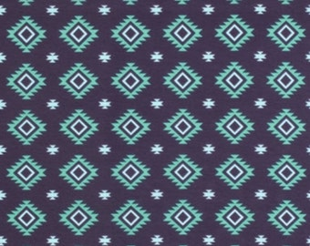Aztec knit in teal by riley blake // modern knit fabric // cotton spandex knit jersey fabric // stretch fabric