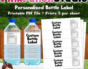 DIY Custom Design Personalized Printable Water Bottle Label Wrappers Made to Match Your Party Theme PDF File