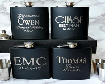 Groomsmen Gift Engraved Hip Flask, Groomsmen Flask Personalized Flask, Best Man Gift, Bridal Party Wedding Party Gift, 1 Flask Grooms Father