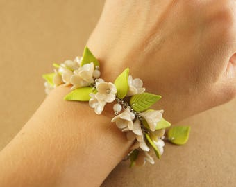 Polymer clay floral bracelet, lilac flowers bracelet, wedding bracelet, prom bracelet
