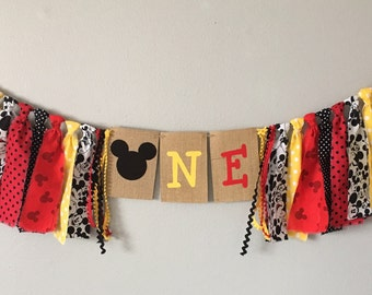 Mickey Mouse Birthday banner, mickey mouse highchair banner, Mickey Mouse party decoration, photo, smash cake, first birthday, one, two