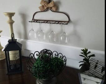 Wine Glass Rack, Wine Glass Holder, Vintage Wine Glass Wall Decor, Rustic Wall Decor, Wine Glass Rake with Burlap Ribbon, Rustic Metal Rake