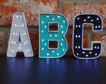 Mini Marquee Letters - Unique Lighted Letters - 4 Inch Paper Mache Letters with Battery Operated LED Fairy Lights - Lighted Home Decor
