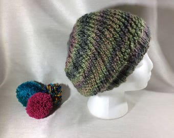 Knitted hat, fashion, vegan slouch hat, men's fashion, women's fashion, vegan accessories, knitted hat, festival wear