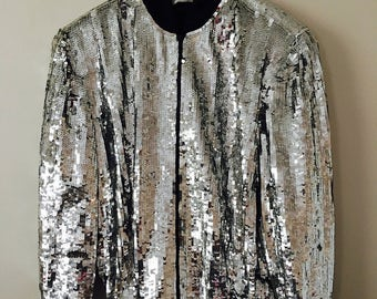 Silver Sequin Silk Bomber Jacket - Size L