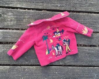Vintage - Embroidered Mexican Jacket Mexico Souvenir Jacket Felt Wool Folk Art Baby Toddler Kids Clothes