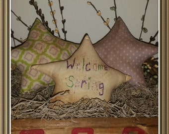 primitive Spring star tucks and bowl fillers, prim spring decor, spring ornies, OFG, FAAP, Spring star cupboard tucks, hand stitched stars