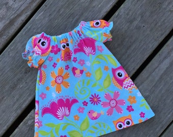 SALE  - FREE SHIPPING, Peasant Dress, Owl Dress, Infant Dress, Baby Dress, Baby Peasant Dress