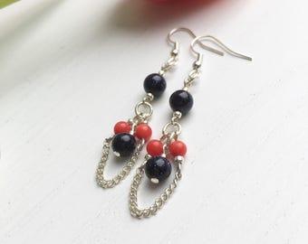 Blue Goldstone Earrings, Blue Sandstone, Coral Earrings, Coral And Navy Wedding, Clip On Earrings, Gift For Her, Elegant Earrings, UK Shops