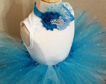 1st Birthday tutu set, confetti tutu, rhinestone onsie, princess tiara baby band, rosettes, blue, teal, white, glitter, cake smash prop