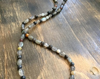 Long Labradorite and Jasper Beaded Necklace 24""