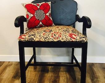 Refurbished vanity chair - wood chair - african print - black, red, cream - Colorado