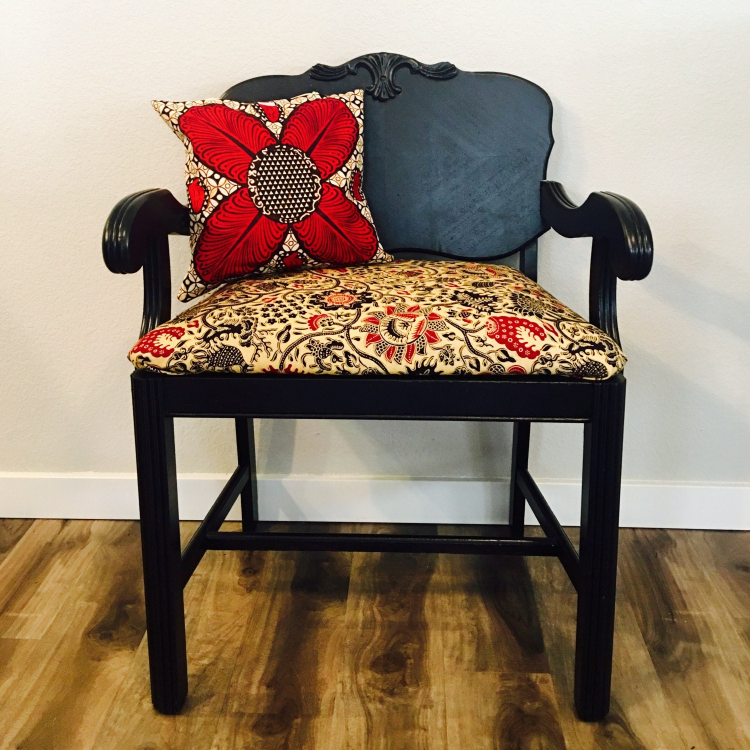 Refurbished vanity chair - wood chair - african print - black, red ...