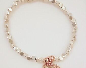 Sterling Silver Facet Beaded Bracelet