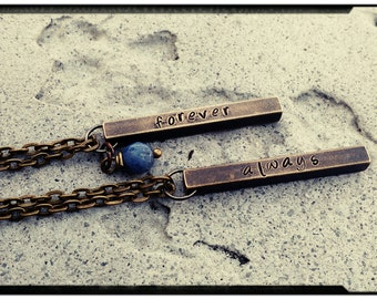 Couples Necklace - Bronze or Copper Bar Necklace Set//Hand Stamped Always & Forever - Solidite Stone//Couples Gift - Valentine's Day