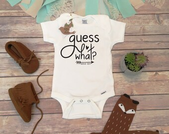Guess What Onesie®,  Pregnancy Reveal to Grandparents, Pregnancy Reveal Onesie, Pregnancy Announcement Baby Bodysuit, Surprise Expecting